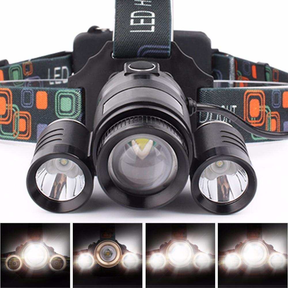 SKYFIRE Zoomable High Power Waterproof 3 LED Scheinwerfer 4 Modi T6 Scheinwerfer mit 2 * 18650 Akkus und Autoladegerät