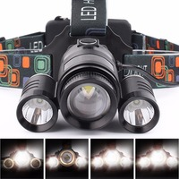 SKYFIRE Zoomable High Power Waterproof 3 LED Headlight 4 Modes T6 Headlamp with 2* 18650 Rechargeable Batteries and Car Charger
