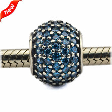 Fits Bracelet Bead Charms Pave Lights Silver Charm with Teal CZ 925 Sterling Silver Beads DIY