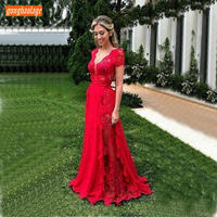 Fashion Red Lace Prom Dresses Long 2019 Sexy Deep V Neck A Line Prom Gowns Customized Short Sleeve Slim Fit Formal Party Dress
