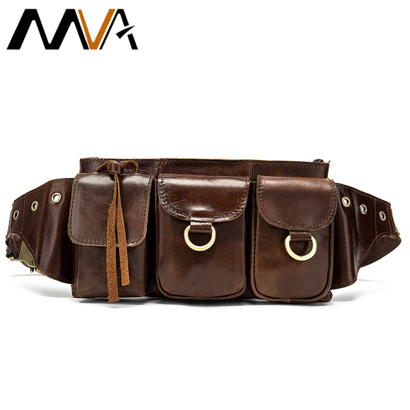 MVA Fanny Pack Crossbody Bags Men's Waist Bag Belt Men Leather Genuine Male Shoulder Bags For Men Money Bag Travel Waist Pack