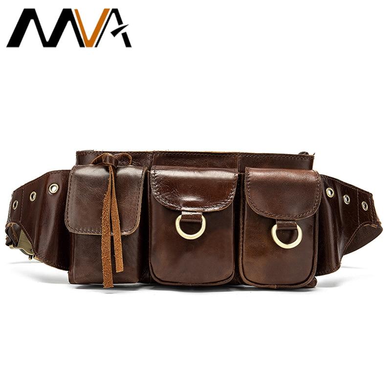 MVA Fanny Pack Crossbody Bags Men's Waist Bag Belt Men Leather Genuine Male Shoulder Bags For Men Money Bag Travel Waist Pack