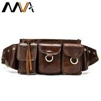 MVA Fanny Pack Crossbody Bags Men's Waist Bag Belt Men Leather Genuine Male Shoulder Bags for Men Money Bag Pouch Waist Pack