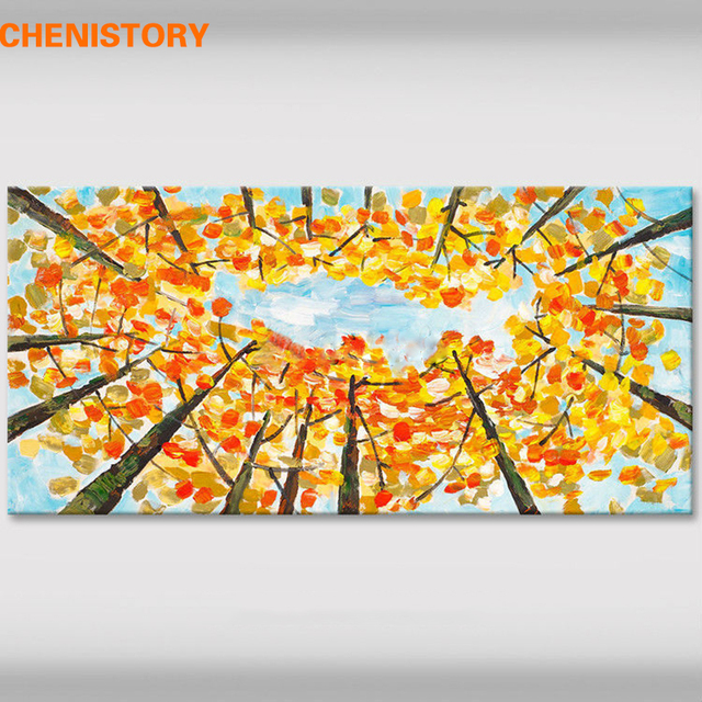CHENISTORY Autumn Tree Handpainted Oil Painting Wall Art Picture ...