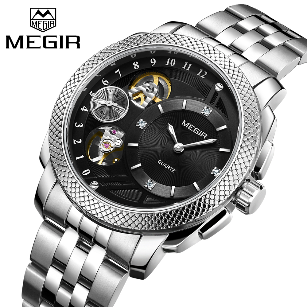 MEGIR Top Brand Luxury Men Quartz Watch Stainless Steel Band Business Wrist Watches Men Clock Relogio Masculino Erkek Kol Saati lancardo relogio masculino men clock erkek kol saati retro design leather band analog military quartz wrist watch for boyfriend