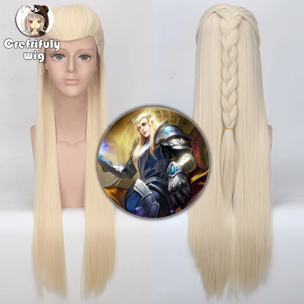 5v5 Adults Lord of the Rings Synthetic Anime Braiding Hair Hobbit Elf Thranduil Long Straight Light Blonde Cosplay Wig 80cm