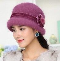 Winter Women Floral Bonnet Soft Wool Mixed Rabbit Fur Hat Warm Knitted Fedora Baggy Headwear Cap