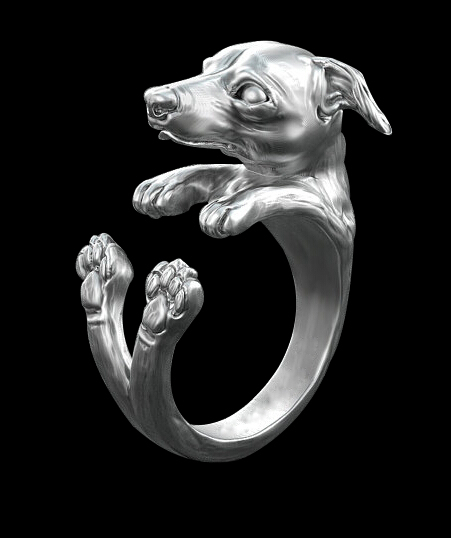 newest wholesale retro Italy Greyhound Ring free size hippie animal Greyhound dog Ring jewelry for pet lovers 12pcs/lot