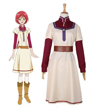Shirayuki Cosplay blanche-neige avec les cheveux rouges Shirayuki chimiste pharmacien Cosplay Costume(China)