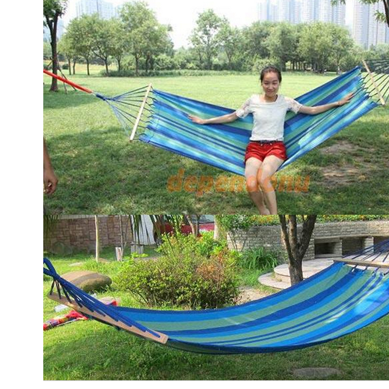 Canvas Double Spreader Bar Hammock Outdoor Camping Swing Hanging Bed Blue Free Shipping In Hammocks From Furniture On Aliexpress Alibaba Group
