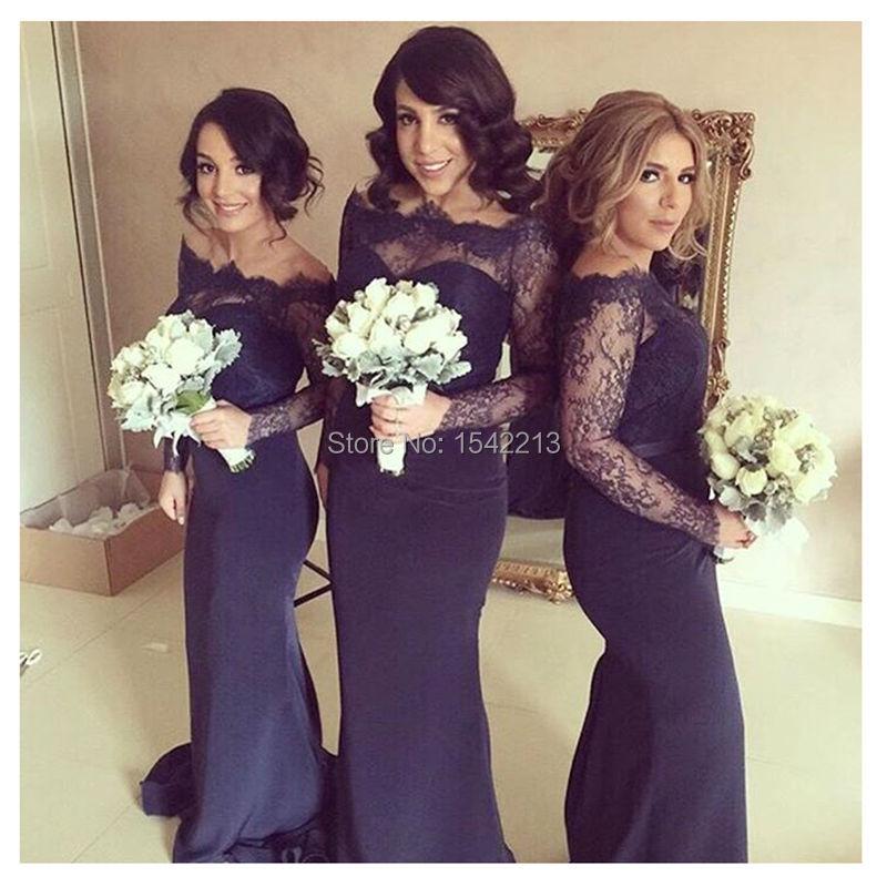 Popular Long Sleeve Bridesmaid Dress Purple-Buy Cheap Long Sleeve ...