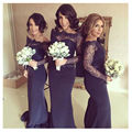 Nova chegada barato roxo mangas compridas sereia da dama de honra vestido Plus Size mulheres vestidos de festa de casamento