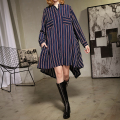 [soonyour] 2017 spring new all-match plus size long-sleeved long section Stand  collar irregular stripes loose shirt Q09405