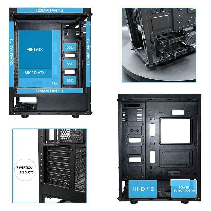 Игровой чехол darkFlash Phantom черный ATX Mid-Tower настольный компьютер игровой корпус с 6 шт 120 мм LED DR12 вентиляторы RGB охлаждение