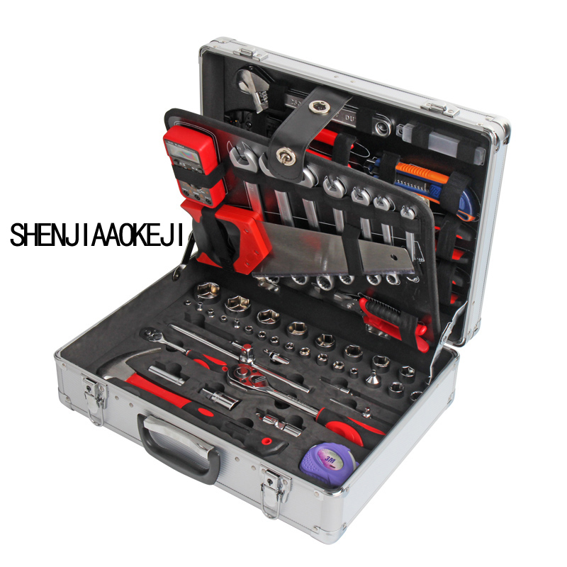112 pcs/set Machine Repair Tool Set Auto repair sleeve Multifunction Aluminum alloy Ratchet wrench Portable Hardware tool box 26 pieces of household tool set combined machine repair auto repair hardware multi functional toolbox