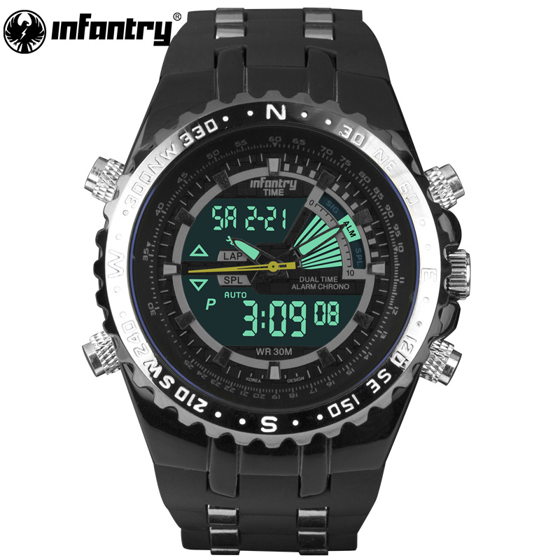 INFANTRY Mens Watches LCD Reloj Digital New Casual Quartz Watch Military Police Chronograph Watch Date Luxury Brand Dropshipping массажер gezatone amg108 массажер для ухода за лицом amg108