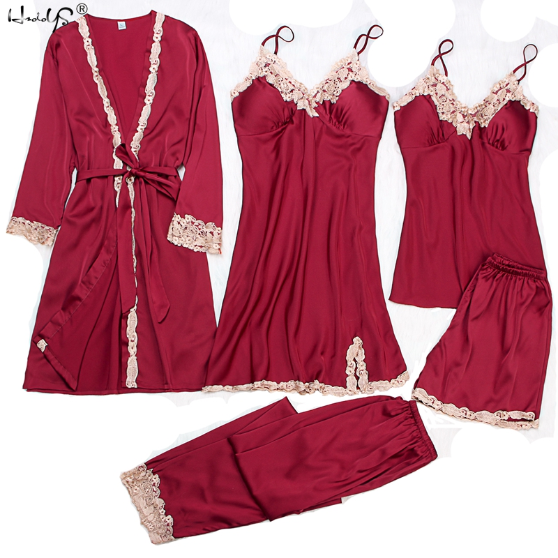 Sexy Women's Robe & Gown   Sets   Autumn Winter 4 & 5 Piece   Pajamas     Sets   Sleepwear Womens Sleep   Set   Faux Silk Robe Femme Lingerie