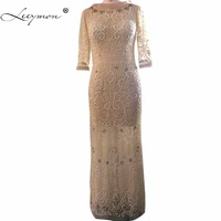Leeymon 3 4 Sleeves Elegant Luxury Evening Dress Dubai Heavy Beaded Sheath Evening Gown Customize 2017