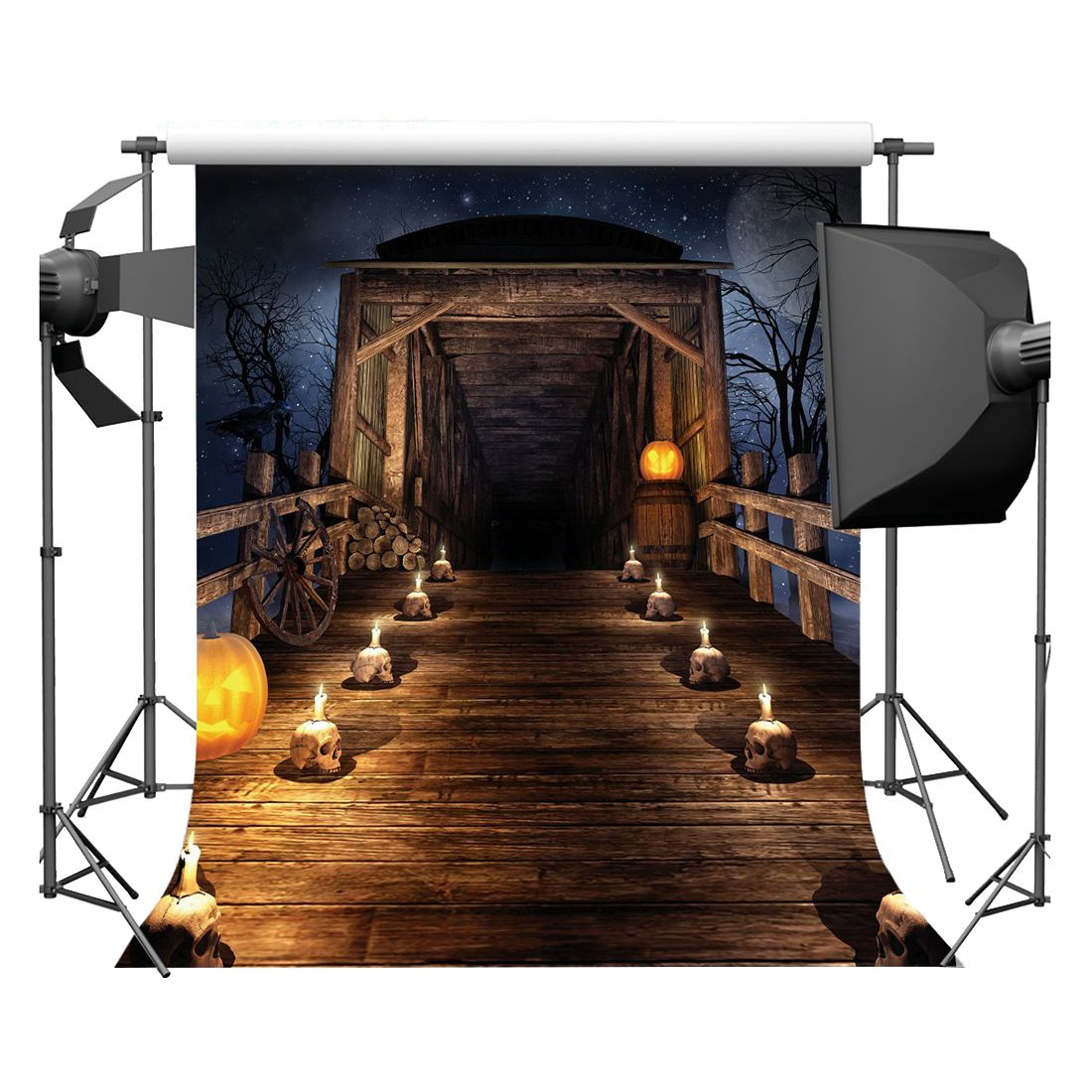 Halloween Vinyl Photography Backdrop Photo Background Studio Prop 5*7ft, Skull Chalet shanny autumn backdrop vinyl photography backdrop prop custom studio backgrounds njy33