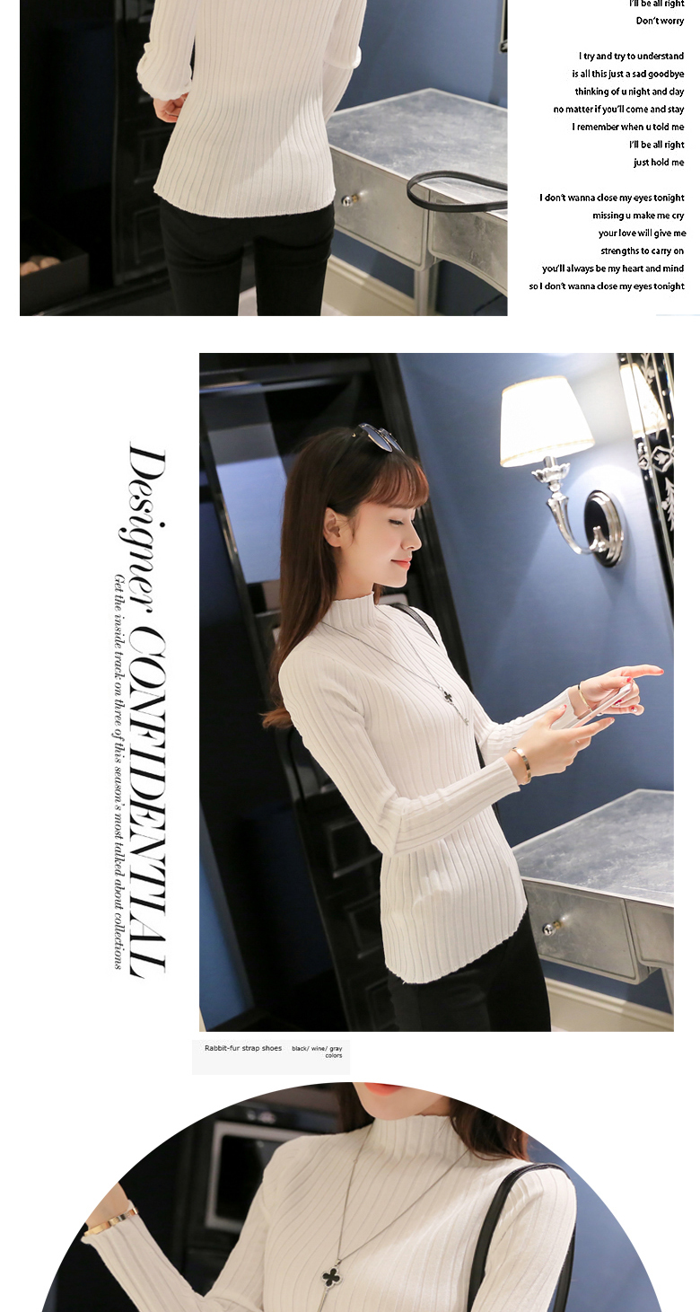 19 Autumn and winter New Korean Half turtleneck Sweater jacket Womens Long Sleeve Set head All-match knitted Sweater woman 21