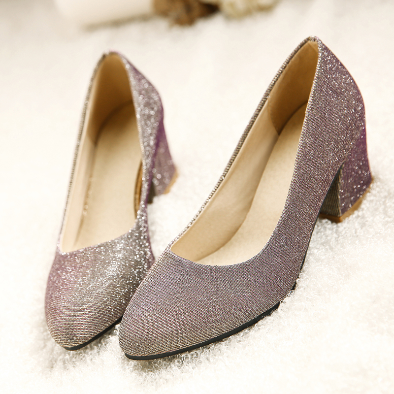 European nightclub style sexy pointed toe pumps slip-on glitter silver gold black med heel women's shoes big size 21.5~27.5cm(China (Mainland))