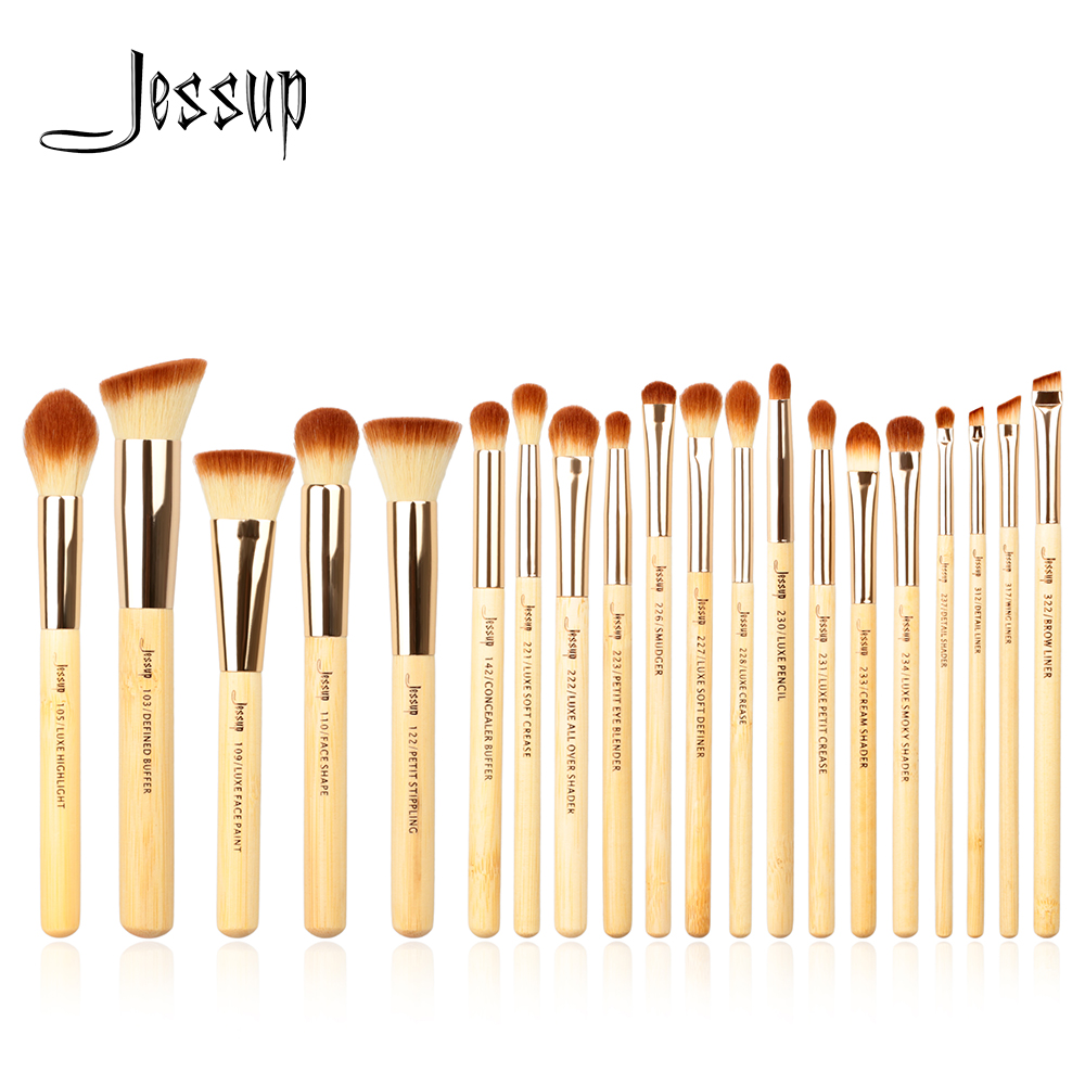 Jessup brushes 20pcs Beauty Bamboo Professional Makeup Brushes Set Make up Brush Tools kit Foundation Powder Brushes Eye Shader new 3 pcs beauty sponge makeup brushes professional make up brushes puff brush set makeup tools eyebrow eyeliner powder brushes