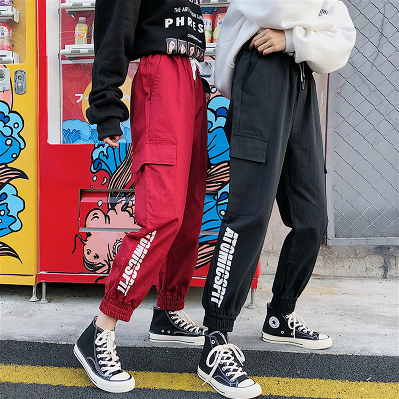 Black Drawstring High Waist Cargo Pants Women Multi Pockets Loose Streetwear Harajuku Fashion Hip Hop Women's Joggers Trousers 1