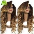 Mejor humano rubio ombre peluca del frente del cordón del pelo humano virginal brasileño pelucas para las mujeres negras del pelo del cuerpo ondulado estilo ormbre color #4 T #27