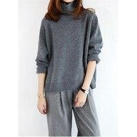 100% кашемировый толстый вязаный женский корейский стиль сплошной водолазка Свободный пуловер свитер S L розничная продажа оптом