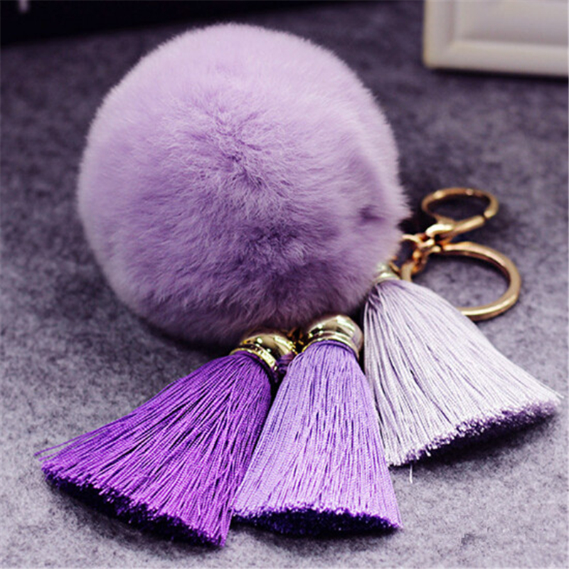 Fashion Keychain Natural Rex Rabbit Fur Fluffy Key Chains For Handbags Ring Pom Trendy Women Bag Pendant Plush Car Ornament
