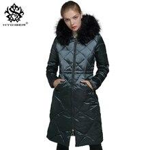 hydiber 2017 New Fashion Women Winter Long Sleeve Parkas Ladies Dark Green Artificial Fur Stitched Hooded Black Outwear Coat 3XL
