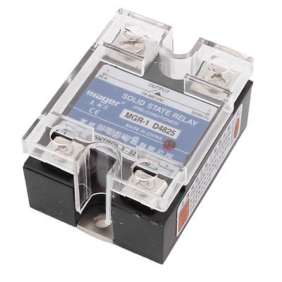 MGR-1 D4825 Single Phase Solid State Relay SSR 25A DC 3-32V AC 24-480V ssr 25a single phase solid state relay dc control ac mgr 1 d4825 load voltage 24 480v