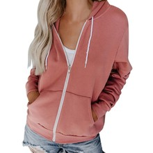 Autumn Solid Zipper Hoodies Sweatshirt Women Long Sleeve Spring Casual Hooded Coat Fashion Drawstring Pocket Hoodie Jacket Coat