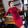 TIC-TEC women cheongsam long qipao chinese traditional dress oriental dresses elegant vintage red lace hollow out clothes P2965