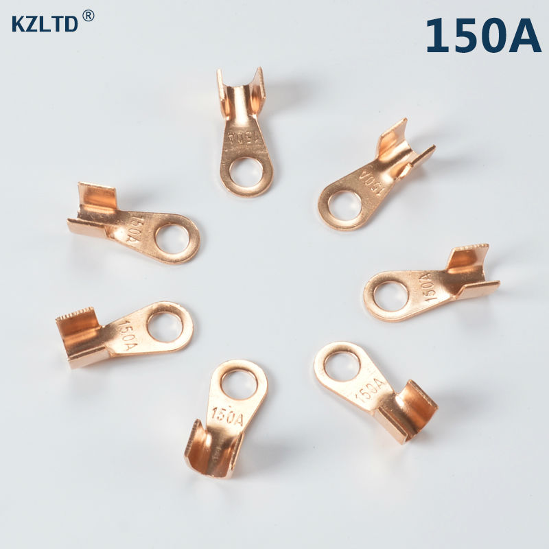 50PCs/Lot 150A Copper Lug Terminal <font><b>Connector</b></font> 10.4mm <font><b>Ring</b></font> for M10 Stud <font><b>Battery</b></font> Cable Terminal Eyelet OT-150A