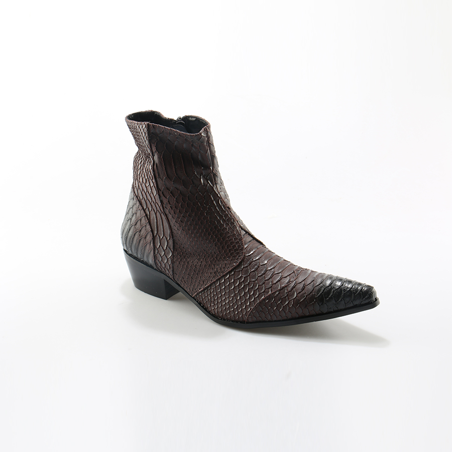 Image 5 - Crocodile Grain Brown White Mens Ankle Boots Embossed Genuine Leather Dress Boots Spring High Flat Boots New Mens Wedding Shoes-in Basic Boots from Shoes