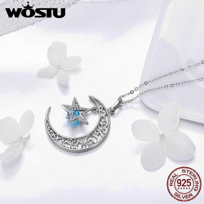 WOSTU Echt 925 Sterling Silber Glänzende Mond Sterne Halskette Blau Runde CZ Stein Anhänger Für Frauen Engagement Party Schmuck CQN278