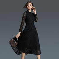 Women Elegant Pinup Vintage Retro Lace Dress New Autumn Winter 2018 High Quality Big Swing Temperament