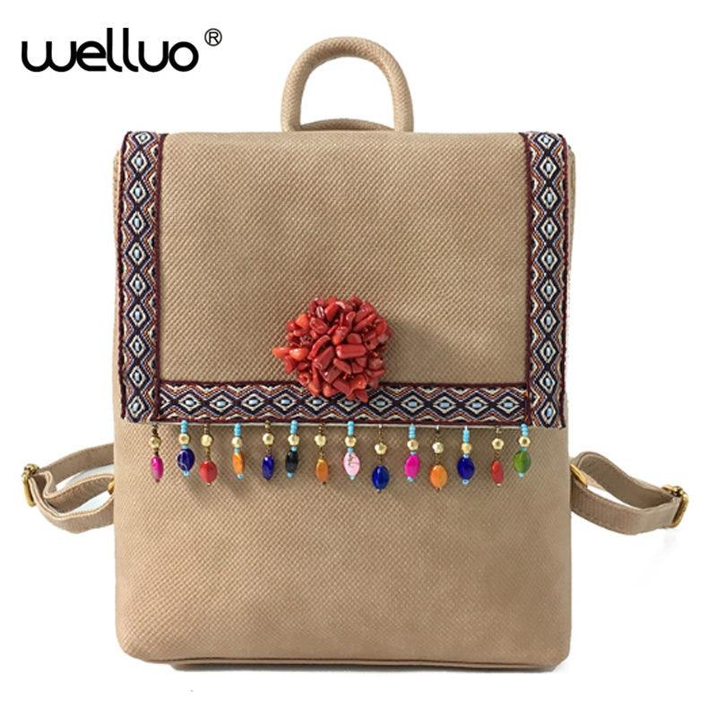 Rotro Tassel Women Backpacks Diamond flower PU Leather Lady Backpacks High Quality Fashion Girls Backpack Cute
