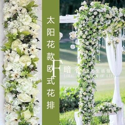 White Wedding Pavillion artificial flower strips Wedding canopy flower decoration Wedding Supply 4M x 24cm & White Wedding Pavillion artificial flower strips Wedding canopy ...
