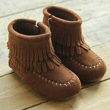 2016 nuevos zapatos de Los Niños niñas zapatos de suela de Músculo de la Vaca borla botas zapatos de cuero