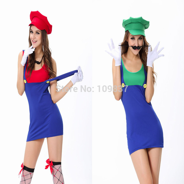 women halloween cute mario brothers costumes cosplay party apparel
