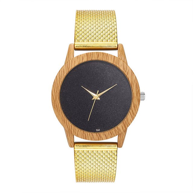 Creative Watches Women Plastic Band Bamboo Case Lady Wrist Watch Wooden Light Black Dial Modern New Style Analog Clock 1