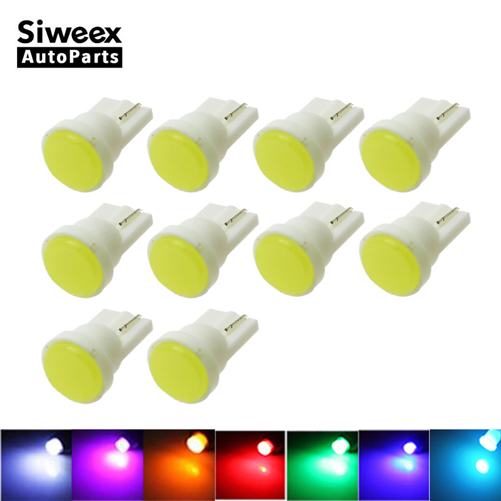 10pcs T10 COB W5W Car Interior LED Wedge Door Instrument Side Bulb License Plate Lamp Car Light 7-Colors Source DC 12V t10 2w cob canbus led car wedge license side interior clear bulb light soft gel