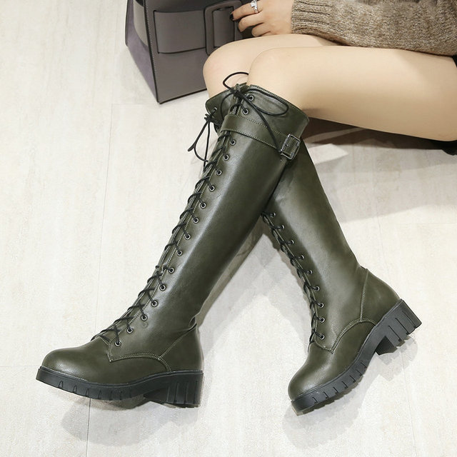 975a6333375a Women Comfort Low Heel Lace Up Martin Boots Fashion Buckle Platform Round  Toe Fall Winter Knee High Boots Black Gray