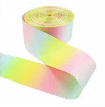 100Yard DHL Free shipping DIY Jojobow Polyester Grosgrain Ribbon Rainbow Ribbon 3inch