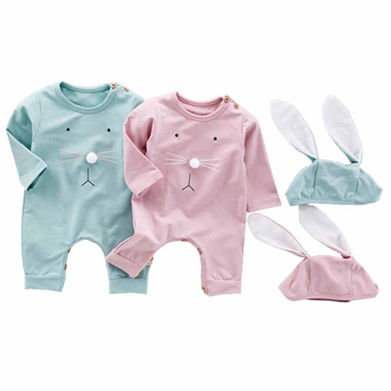 New 2017 Infant Fashion Rompers Baby Boys Girls Bunny Rabbit Pink Costume+Rabbit Ear Hat 2pcs Outfits Toddler Baby Clothing Sets 2016 new winter toddler baby fashion crochet hat boys and girls pure soft woolen ball knitting beanie warm cap dzieci kape nov11