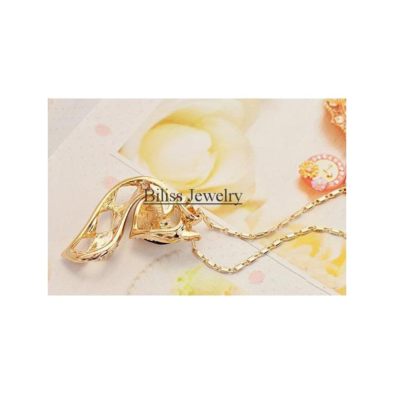 BONISKISS 2018 Fashion Charm Gold Crystal Rhinestone Pave Fox Pendant Necklace For Women Animal Jewelry Gifts