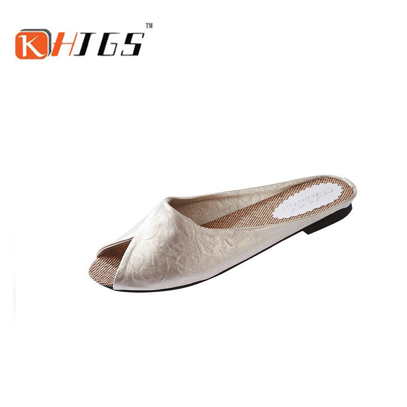 Free shipping KHJGS 2016 new summer brand Baotou leisure female slippers 3 color 5 yards leather women sandals KAY-819 цены онлайн