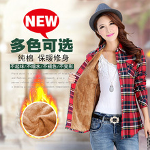 New Fashion Warm Blouse Ladies Plaid Shirt Autumn Winter Long-sleeved Plaid Plus
